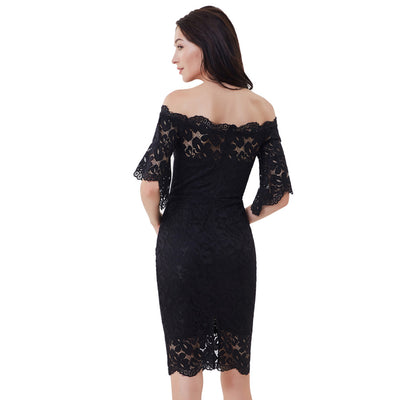 Women's 1/2 Sleeve Off Shoulder Hips-Wrapped Lace Pencil Dress