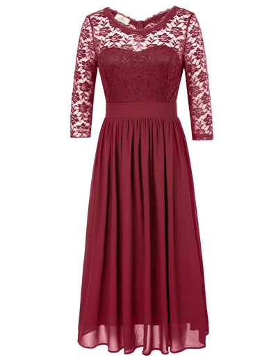 Grace Karin 3/4 Sleeve Crew Neck V-Back Floral Semi See-Through Lace Elegant Chiffon Sexy Dress_Wine Red