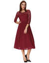 Grace Karin 3/4 Sleeve Crew Neck Chiffon Splicing Lace Evening Dress_Wine Red