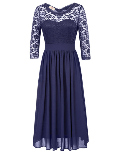 Grace Karin 3/4 Sleeve Crew Neck V-Back Floral Semi See-Through Lace Elegant Chiffon Sexy Dress_Navy Blue