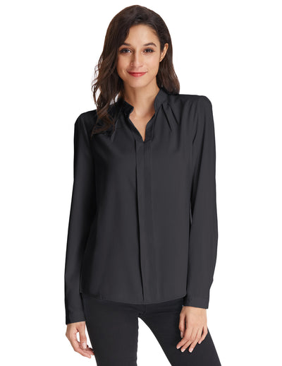 Grace Karin Women's Classic Basic Long Sleeve Stand Collar Shirt Tops-Black