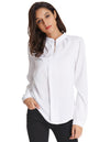 Grace Karin Women's Classic Basic Long Sleeve Stand Collar Shirt Tops_White