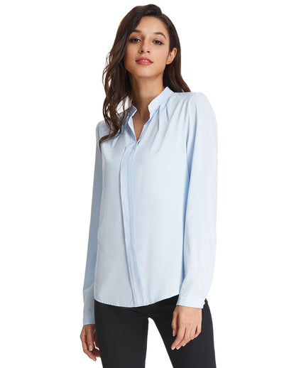 Grace Karin Women's Classic Basic Long Sleeve Stand Collar Shirt Tops_Light Blue