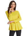Grace Karin Solid Color Cropped Sleeve Crew Neck Flared T-Shirt Tops_Yellow