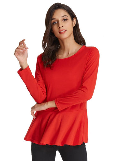 Grace Karin Solid Color Cropped Sleeve Crew Neck Flared T-Shirt Tops_Red