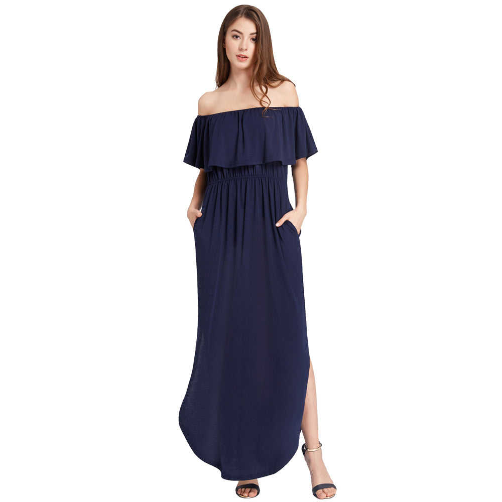 0ba38aba38bd GRACE KARIN Sexy Women s Navy Blue Ruffles Decorated Off the Shoulder Side  Split Loose Fit Curved