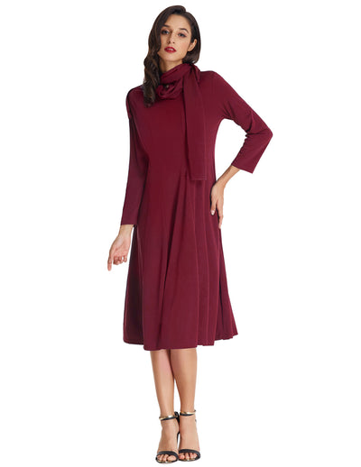 Women's Solid Color Cropped Sleeves Crew Neck Tie Neck A-Line Dress