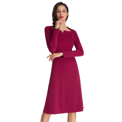Grace Karin Soft Slim Fit Solid Color Long Sleeve V-Neck A-Line Dress_Wine Red