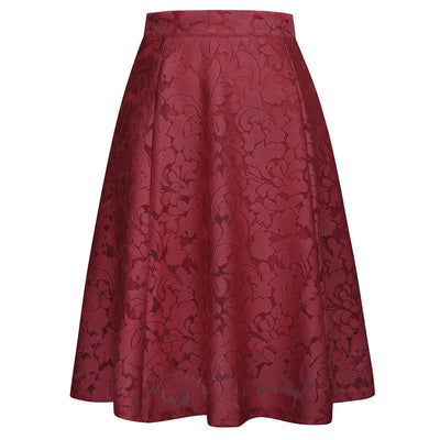 Women's Retro Vintage Jacquard-patterned Flared A-Line Skirt