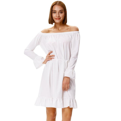 Grace Karin Women's Long Sleeves Off the Shoulder Ruffled Casual Dress_Ivory