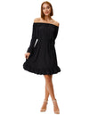 Grace Karin Women's Long Sleeves Off the Shoulder Ruffled Casual Dress_Black