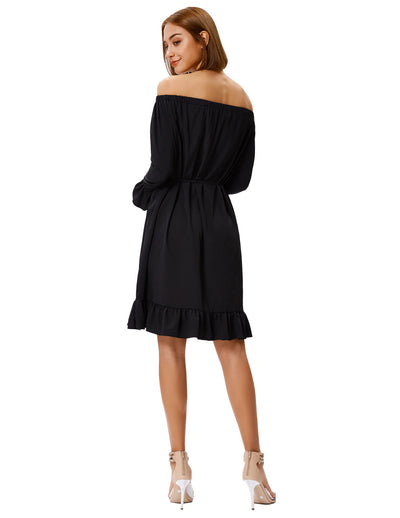 Women's Long Sleeves Off the Shoulder Ruffled Casual Dress