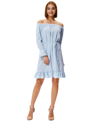 Grace Karin Women's Long Sleeves Off the Shoulder Ruffled Casual Dress_Light Blue