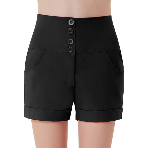 Women's High Waist Buttons Front Shorts Short Pants