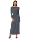 Grace Karin Women's Soft Solid Color Long Sleeve Scoop Neck A-Line Long Maxi Dress_Grey