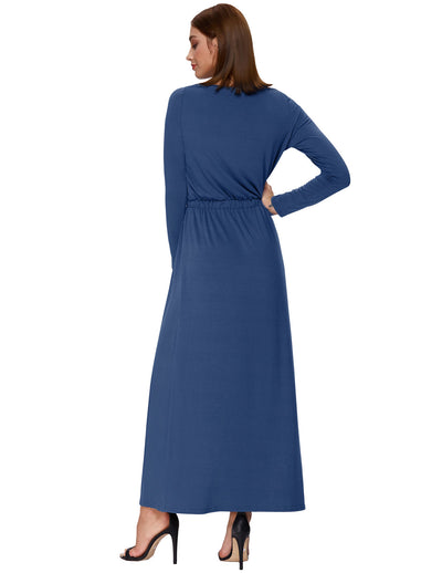 Solid Color Long Sleeve Scoop Neck A-Line Long Maxi Dress