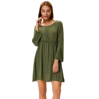 Grace Karin Long Flared Sleeves Crew Neck Elastic Waist Chiffon Dress_Army Green