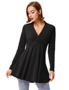 Grace Karin Women's Long Sleeve Surplice V-Neck  Buttons Decorated Flared Hem T-Shirt Tops_Black