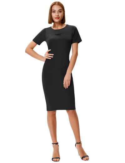 Grace Karin Women's Short Sleeve Crew Neck Hollowed Front Hips-wrapped Pencil Dress_Black