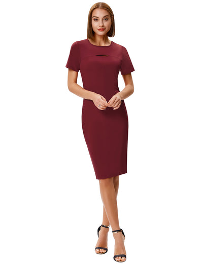 Grace Karin Women's Short Sleeve Crew Neck Hollowed Front Hips-wrapped Pencil Dress_Wine Red