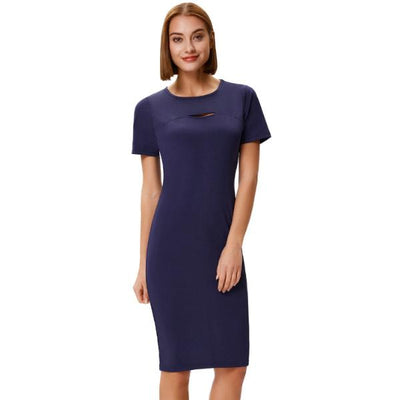 Grace Karin Women's Short Sleeve Crew Neck Hollowed Front Hips-wrapped Pencil Dress_Navy Blue