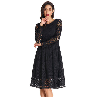 Long See-Through Sleeve Round Neck A-Line Lace Party Dress