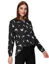 Grace Karin Women's Casual Vibrant Crane Print Long Sleeve V-Neck High-Low Hem Soft Tops_Black