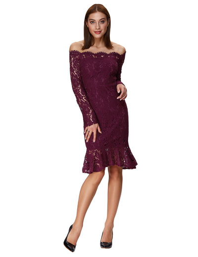 Women's Sexy Long Sleeve Off the Shoulder Lace Mermaid Dress