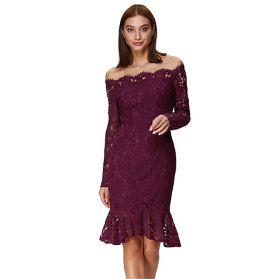 Grace Karin Women's Sexy Long Sleeve Off the Shoulder Lace Mermaid Dress_Wine Red