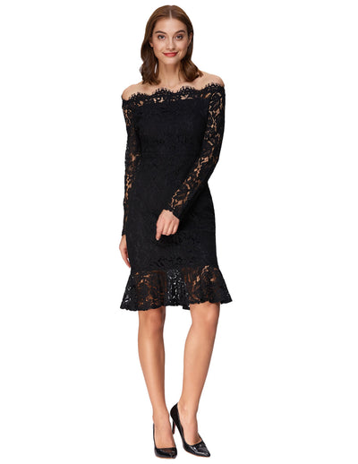 Grace Karin Women's Sexy Long Sleeve Off the Shoulder Lace Mermaid Dress_Black