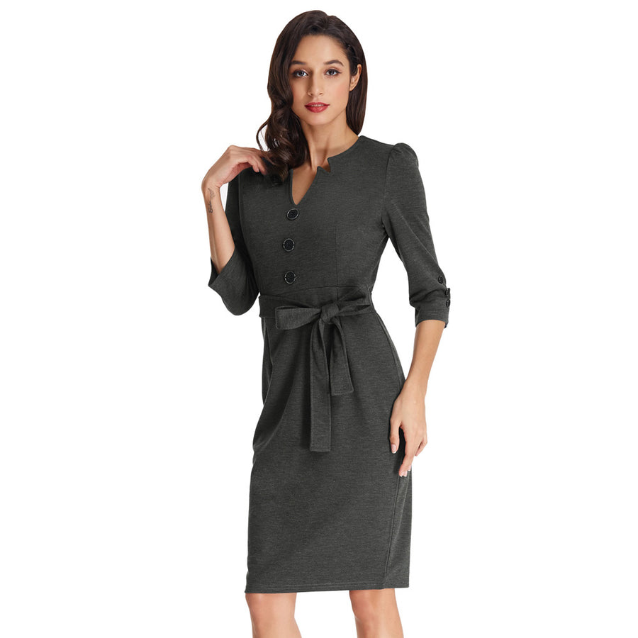 7894817641f Women s 3 4 Sleeve Knee-Length Buttons Decorated Body-con Pencil Dress