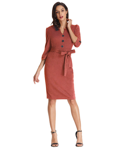 Grace Karin 3/4 Sleeve Knee-Length Buttons Decorated Body-con Pencil Dress_Redwood