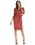 3/4 Sleeve Knee-Length Buttons Decorated Body-con Pencil Dress