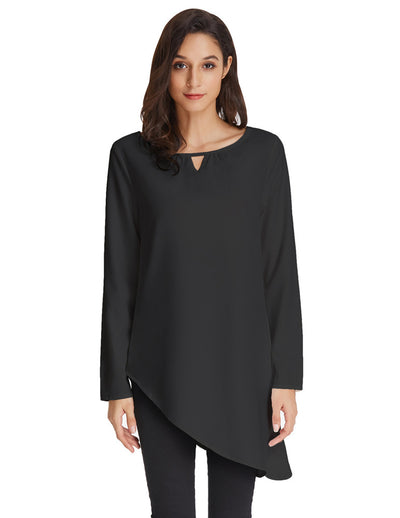 41712c348be Grace Karin Women s Simple Sexy Solid Color Thin Summer Long Sleeve Crew  Neck Asymmetrical Tops Black