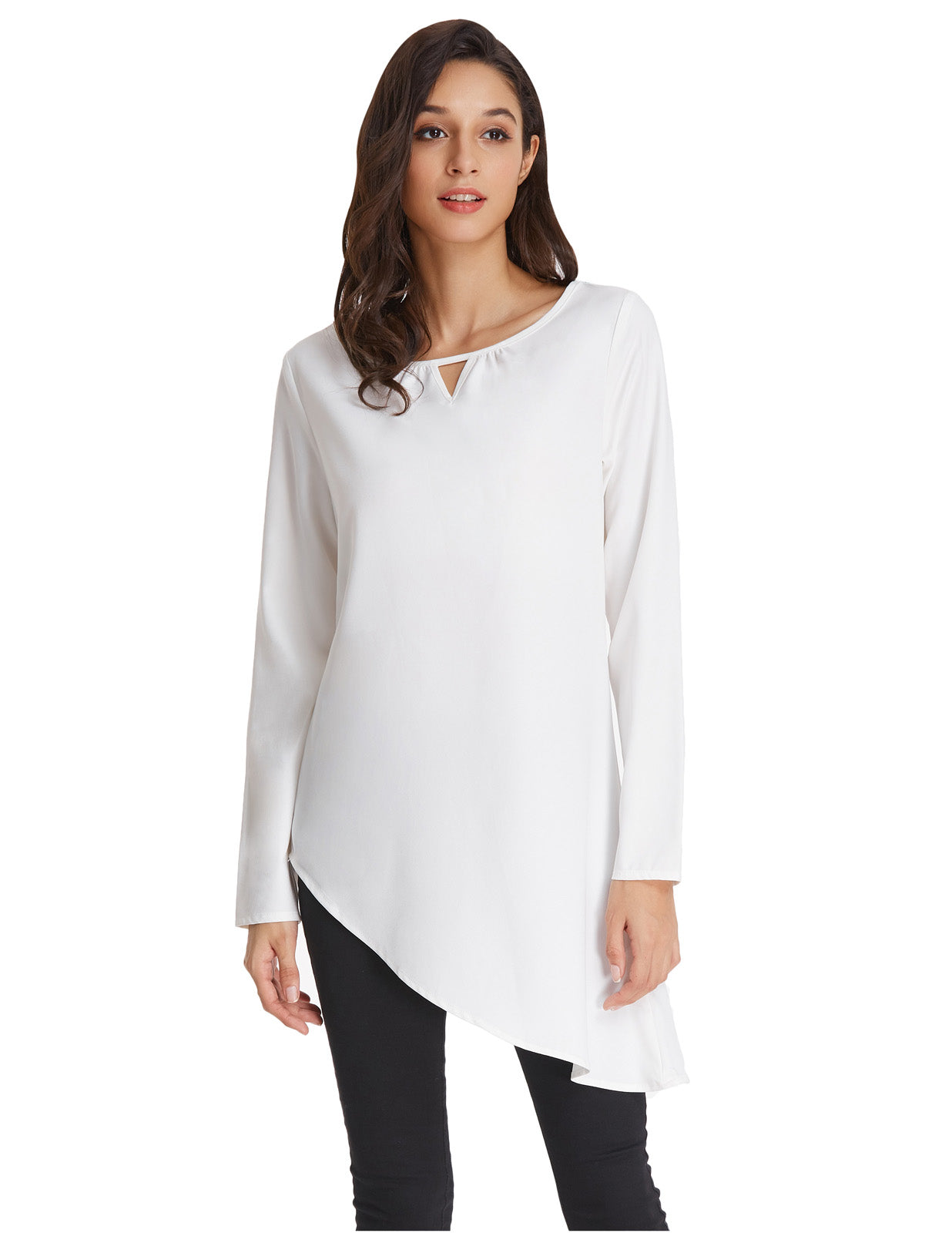 510c13ec96a Grace Karin Women s Simple Sexy Solid Color Thin Summer Long Sleeve Crew  Neck Asymmetrical Tops White