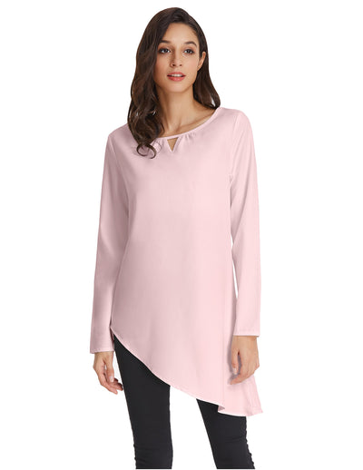 Grace Karin Women's Simple Sexy Solid Color Thin Summer Long Sleeve Crew Neck Asymmetrical Tops_Pink