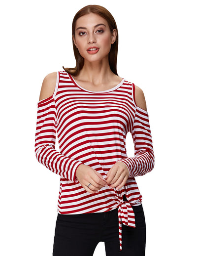 Grace Karin Women's Long Sleeve Cold Shoulder Bow-Knot T-Shirt Tops_Red Stripe