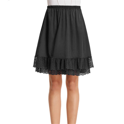 Grace Karin Women's Smooth Comfortable Lace Trim Satin Knee-Length A-Line Two layers Skirt_Black