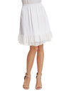 Grace Karin Women's Smooth Comfortable Lace Trim Satin Knee-Length A-Line Two layers Skirt _White