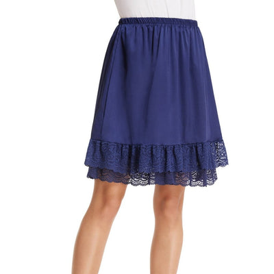Grace Karin Women's Smooth Comfortable Lace Trim Satin Knee-Length A-Line Two layers Skirt _Navy Blue