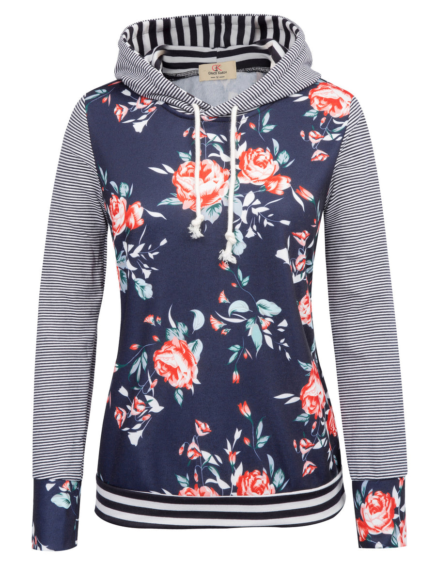9bffd227021 GK Women s Casual Floral Pattern Long Sleeve Hooded Christmas Coat Tops ...