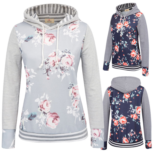 GK Women's Casual Floral Pattern Long Sleeve Hooded Christmas Coat Tops