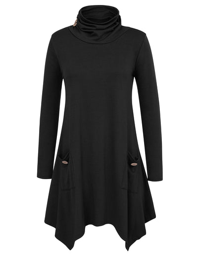Grace Karin Women's Long Sleeve Turtleneck Irregular Hem T-Shirt Tops _Black