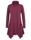 Grace Karin Women's Long Sleeve Turtleneck Irregular Hem T-Shirt Tops _Wine Red