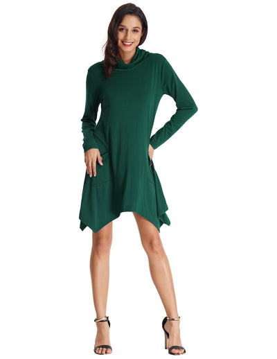 Grace Karin Women's Long Sleeve Turtleneck Irregular Hem T-Shirt Tops -Dark green