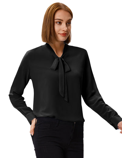 Grace Karin Women's Long Sleeve Bow-Tie Neck Comfortable Chiffon Casual Tops Blouse_Black