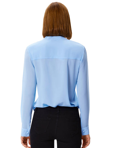 Long Sleeve Bow-Tie Neck Comfortable Chiffon Casual Tops