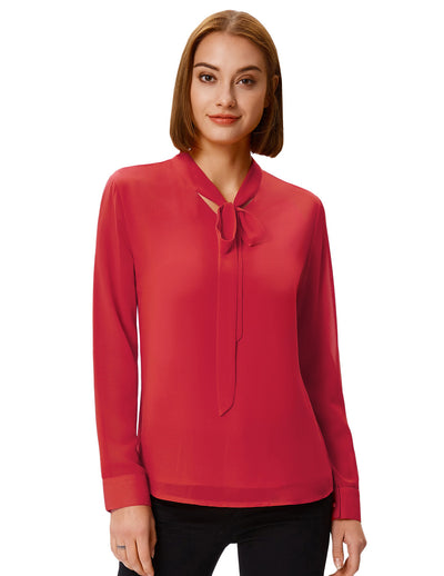 Grace Karin Women's Long Sleeve Bow-Tie Neck Comfortable Chiffon Casual Tops Blouse_Red