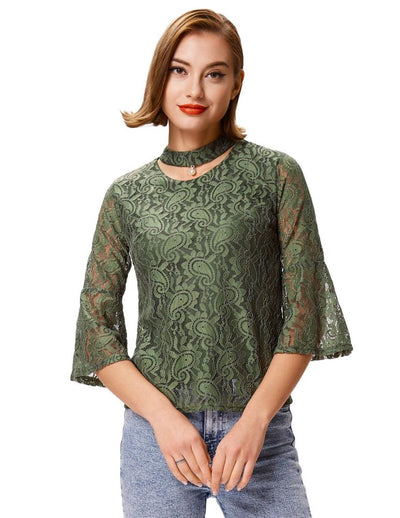Grace Karin Women's Reseda Green Cropped Flared Sleeves Choker Sexy Lace Tops