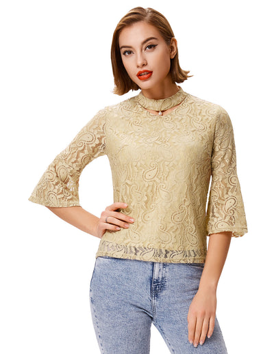 Grace Karin Women's Tan Cropped Flared Sleeves Choker Sexy Lace Tops